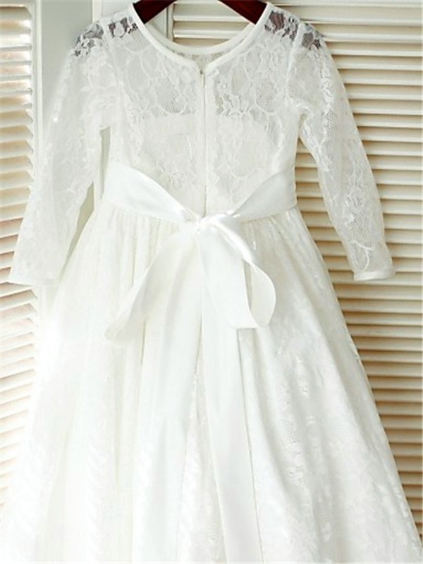 A-line/Princess Scoop Long Sleeves Bowknot Floor-Length Lace Flower Girl Dresses
