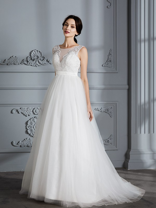 aeb4e467151c ... A-Line/Princess Sleeveless V-neck Sweep/Brush Train Tulle Wedding  Dresses ...