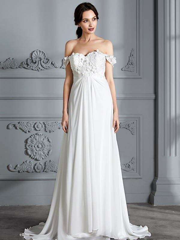 360ad707c6bc A-Line/Princess Off-the-Shoulder Sleeveless Chiffon Floor-Length Wedding ...