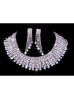 Elegant Czech Rhen Stens Wedding Necklaces Earrings Set