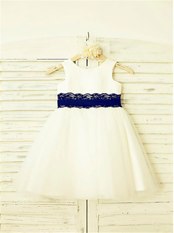 A-line/Princess Scoop Sleeveless Lace Tea-Length Tulle Flower Girl Dresses