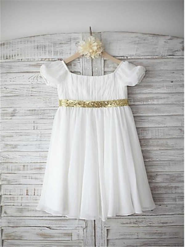 A-line/Princess Bateau Short Sleeves Beading Floor-Length Chiffon Flower Girl Dresses