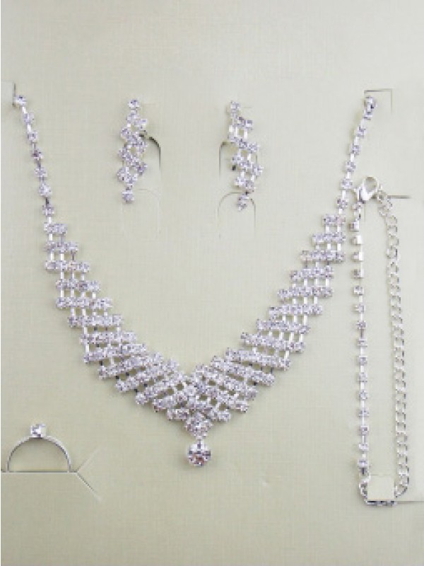 Gorgeous Alloy With Rhen Sten Wedding Bridal Jewelry Set