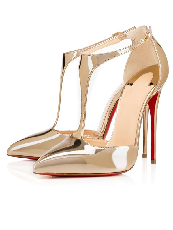 Patent Leather Closed Toe Stiletto Heel Guld Sandals Shoes