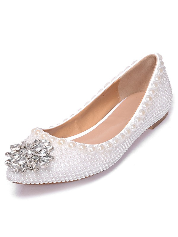 Patent Leather Closed Toe Flat Heel With Pearl Rhen Sten Casual Flat Shoes