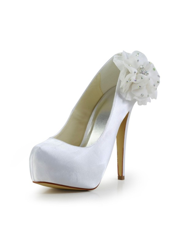 Satin Stiletto Heel Closed Toe Platform Vit Wedding Shoes With Rhen Sten