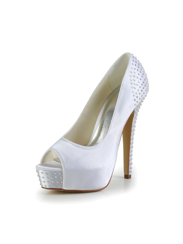 Satin Stiletto Heel Peep Toe Platform Vit Wedding Shoes With Rhen Sten