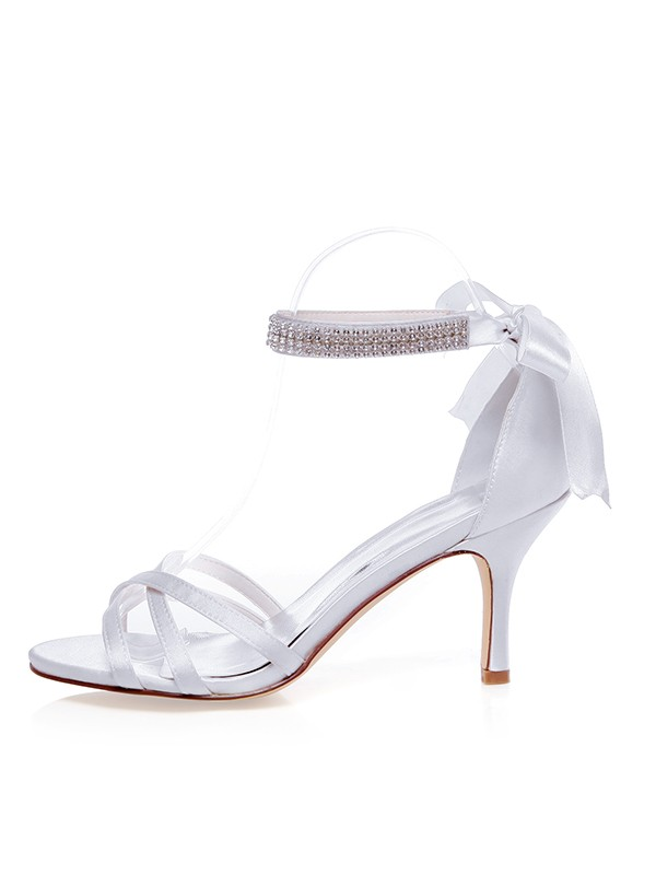 Satin Peep Toe Stiletto Heel Silk Wedding Shoes