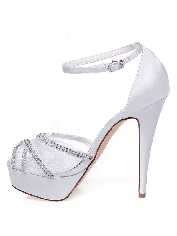 Satin Peep Toe Stiletto Heel Rhen Stens Wedding Shoes