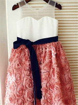 A-line/Princess Scoop Sleeveless Hand-made Flower Tea-Length Lace Flower Girl Dresses