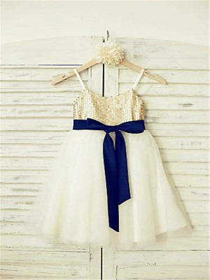 A-line/Princess Spaghetti Straps Sleeveless Sequin Ankle-Length Tulle Flower Girl Dresses