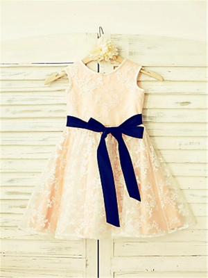 A-line/Princess Scoop Bowknot Sleeveless Ankle-Length Lace Flower Girl Dresses