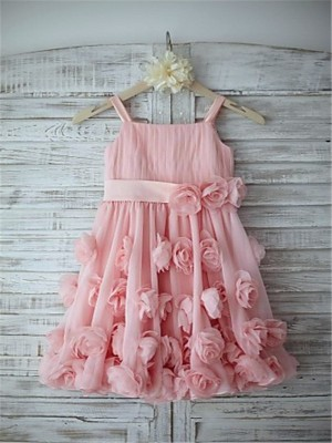 A-line/Princess Spaghetti Straps Sleeveless Hand-made Flower Floor-Length Chiffon Flower Girl Dresses
