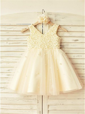 A-line/Princess V-neck Sleeveless Pearls Tea-Length Tulle Flower Girl Dresses