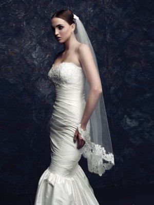 Elegant Tyll With Spets Bridal Veils