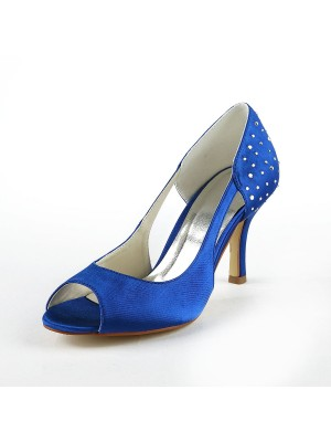 Gorgeous Satin Stiletto Heel Peep Toe With Rhen Sten High Heels