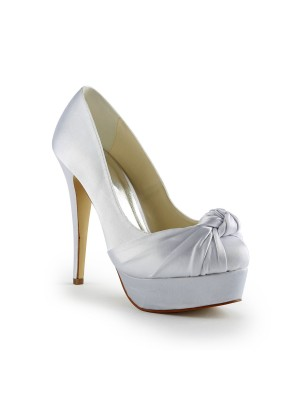 Gorgeous Satin Stiletto Heel Pumps With Rynkad Vit Wedding Shoes