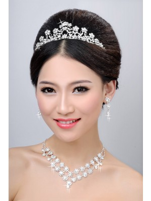 New Style Alloy Clear Kristalls Flower Wedding Party Earrings Set