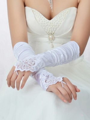 Romantic Spets Satin Pärlbroderi Bridal Gloves