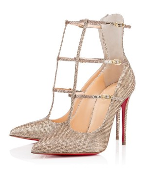 Sparkling Glitter Closed Toe med Buckle Stiletto Heel High Heels